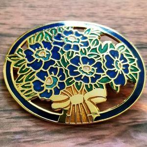Vintage flower bouquet brooch enamel gold pin blue